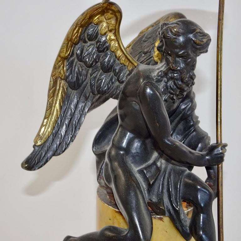 Italian 19th Century Black and Gold Bronze Statue of Biblical Angel Carrying Scythe For Sale