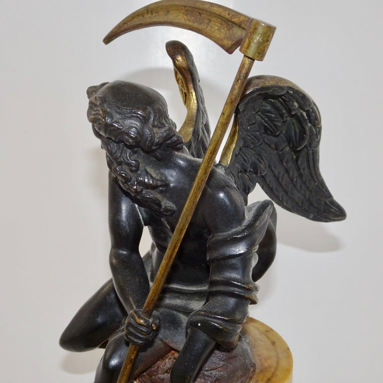 19th Century Black and Gold Bronze Statue of Biblical Angel Carrying Scythe For Sale 1