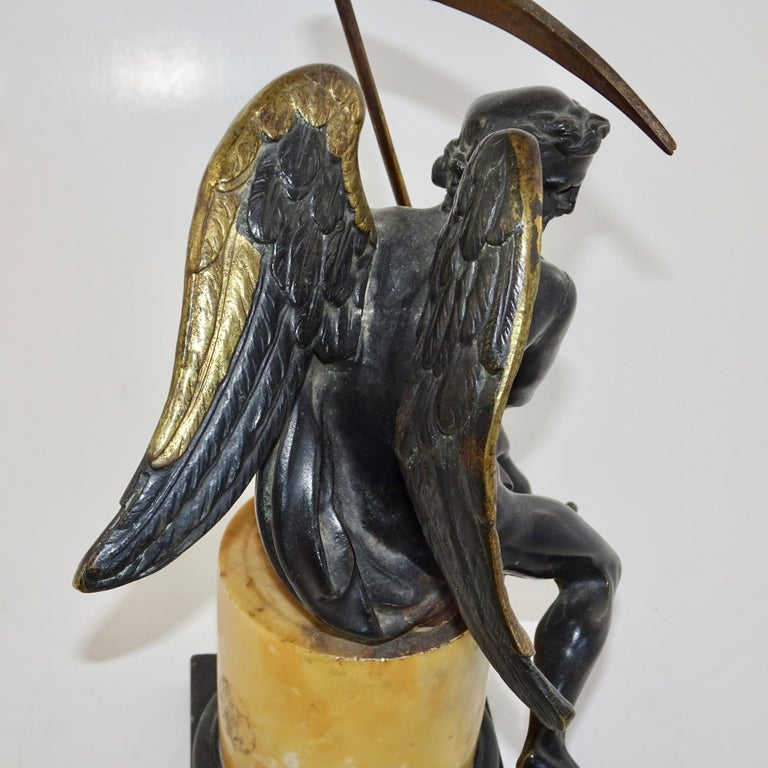 19th Century Black and Gold Bronze Statue of Biblical Angel Carrying Scythe For Sale 4