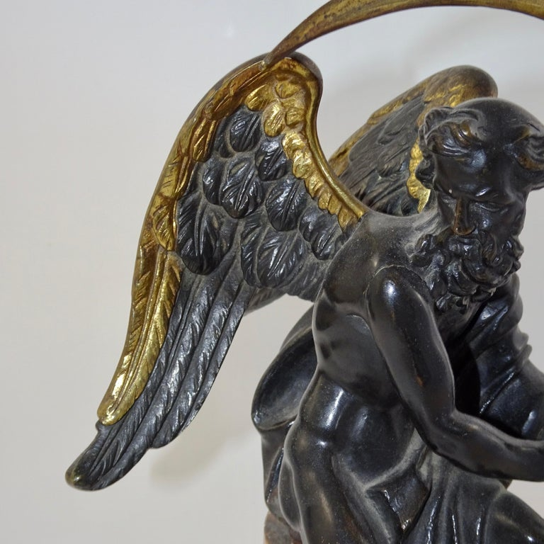 19th Century Black and Gold Bronze Statue of Biblical Angel Carrying Scythe For Sale 5