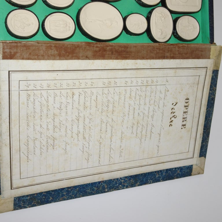 Early 19th Century Pair of Grand Tour Intagilos in a Box Designed as a Book For Sale 12