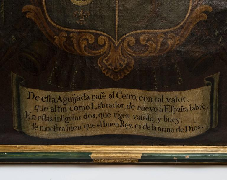 English 19th Century Oil Painting of Coat of Arms in Custom Green and Gilt Frame For Sale