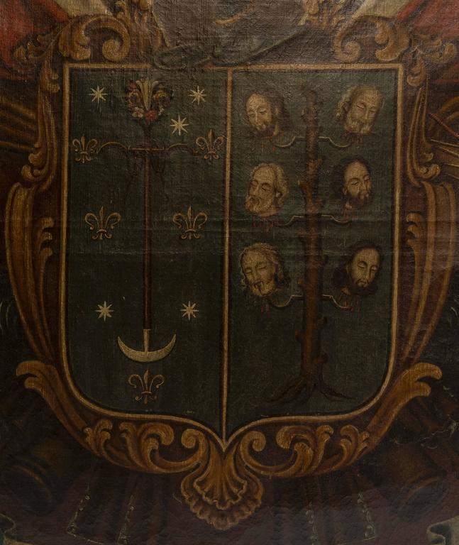 19th Century Oil Painting of Coat of Arms in Custom Green and Gilt Frame In Good Condition For Sale In Nashville, TN