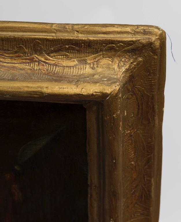 19th Century Oil Painting of Coat of Arms in Custom Green and Gilt Frame For Sale 6