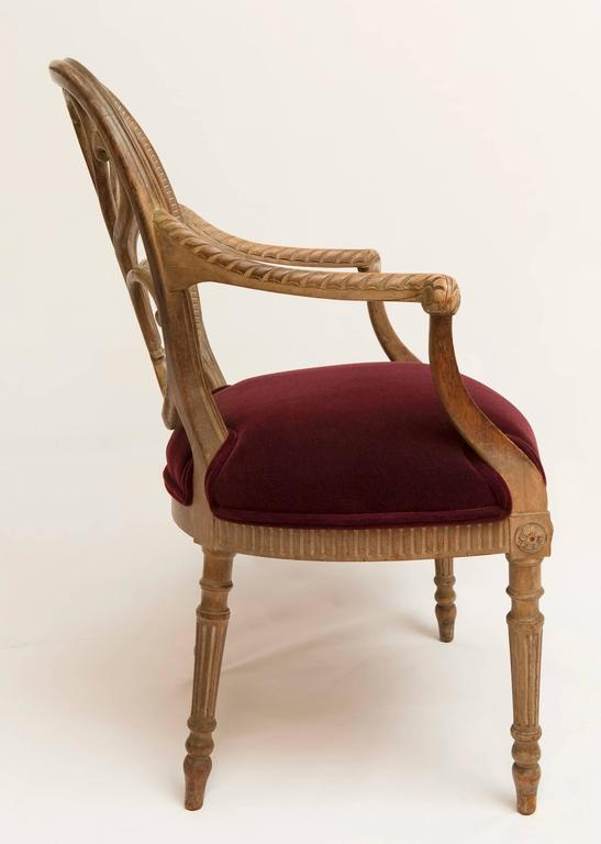 19th Century Regency Bleached Wood Armchair For Sale 2