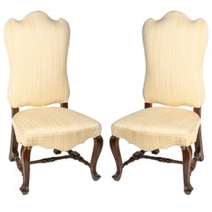 19th Century Pair of Walnut Italian Side Chairs with Shaped Back