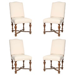 Early 19th Century Set of Four Italian Walnut Side Chairs