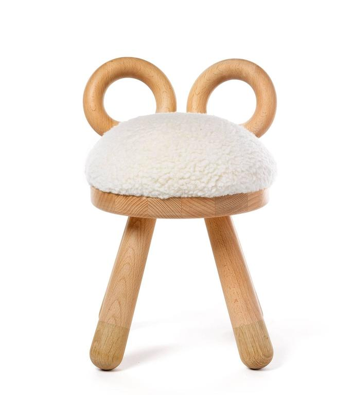 Sheep Chair by Takeshi Sawada for Elements Optimal in Beech, Oak, and Faux Fur 2