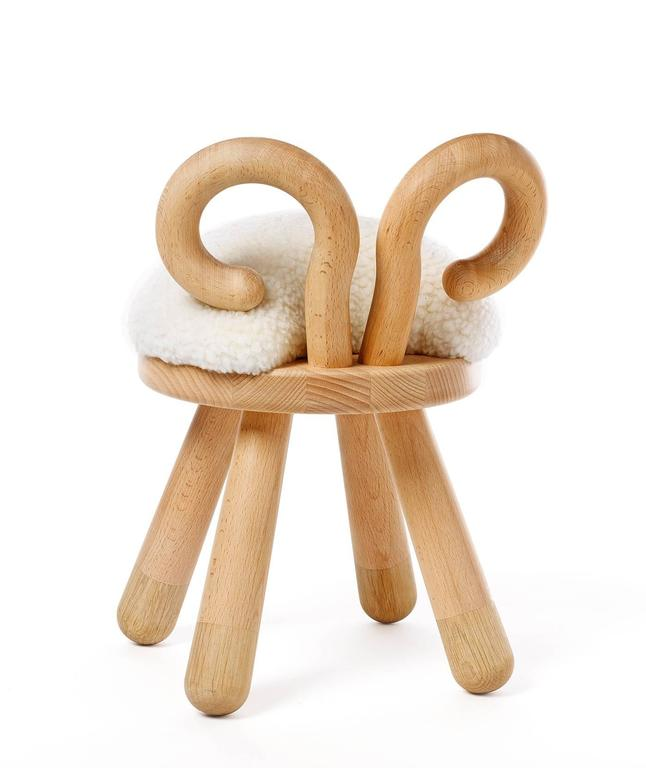 Sheep Chair by Takeshi Sawada for Elements Optimal in Beech, Oak, and Faux Fur 3