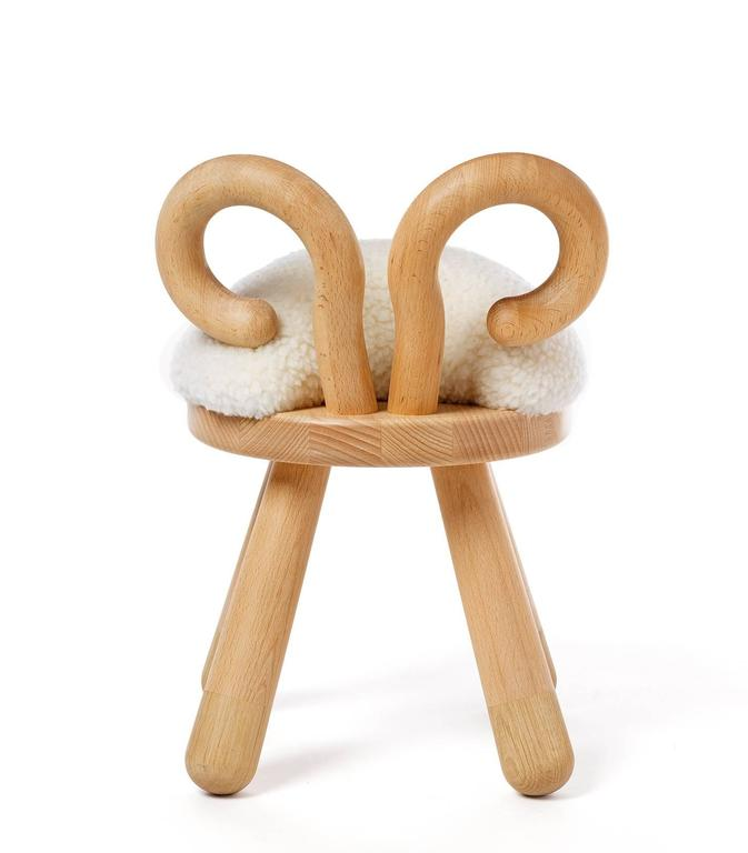 Sheep Chair by Takeshi Sawada for Elements Optimal in Beech, Oak, and Faux Fur 4