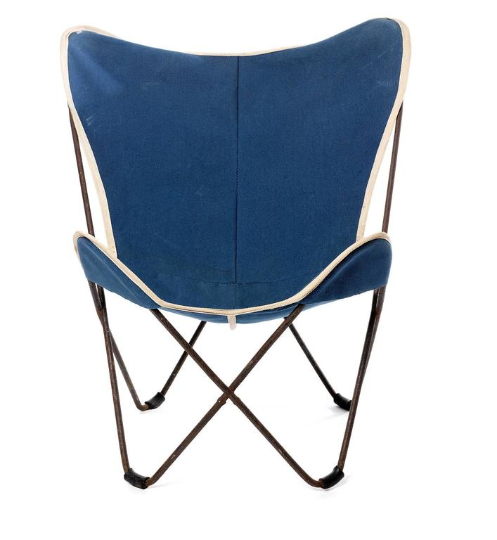 Mid Century Modern Child Butterfly Chair By Jorge Ferrari Hardoy In Blue  Canvas, 1930s