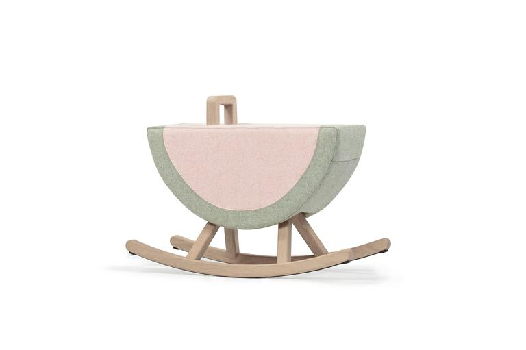 Iconic watermelon child rocker by Maison Deux  Maison Deux Contemporary, Netherlands, 2016 French oak, Kvadrat wool, rubber Measures: L 27 in, seat H 15.75 in, D 10.5 in.