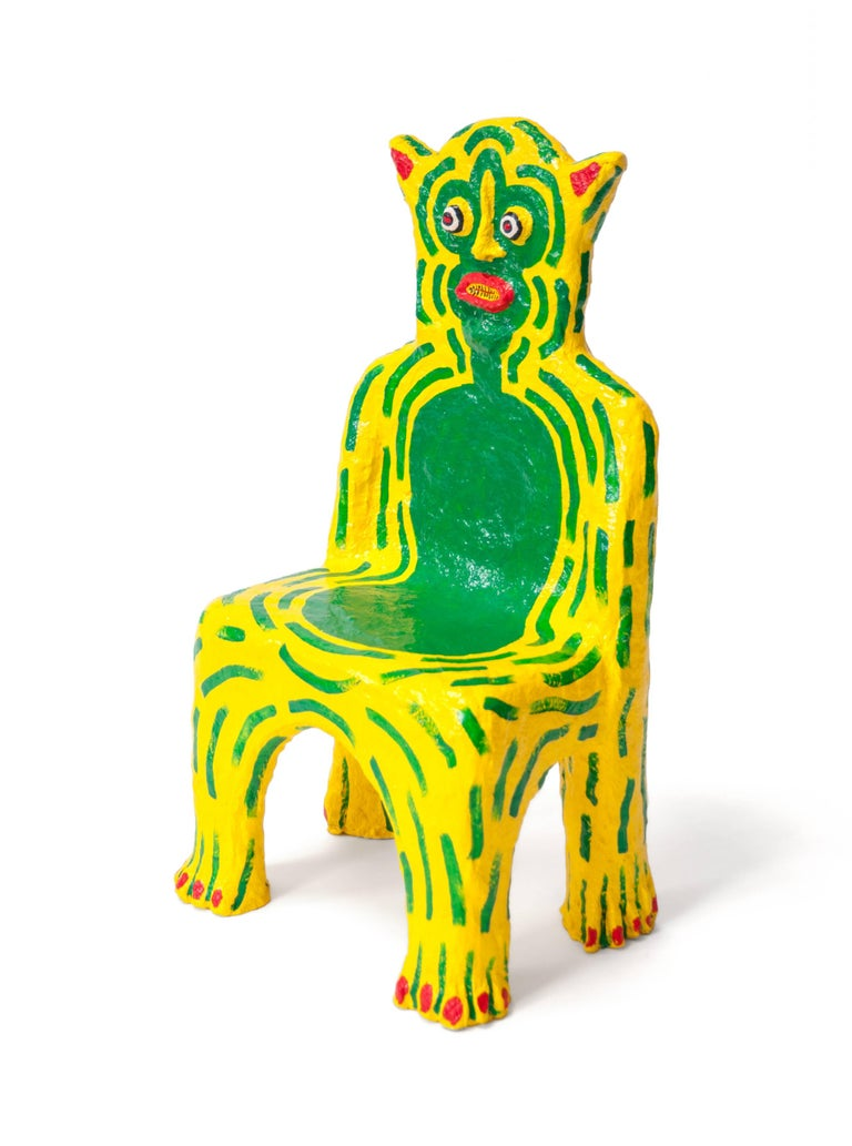 Yellow Creature child chair Brett Douglas Hunter, USA, 2018 Papercrete, foam, wire Measures: H 30in, W 16in, D 12in. Seat H 13 in