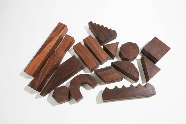 Sculptural Walnut Building Blocks by Fort Makers In Excellent Condition For Sale In New York, NY