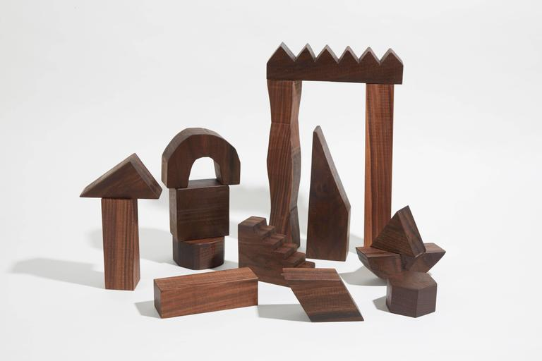 Sculptural Walnut Building Blocks by Fort Makers
