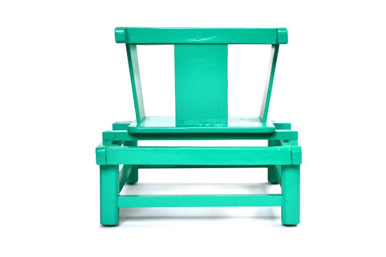 American Mid-Century Modern Tot Play Chair in Teal Lacquered Wood  For Sale