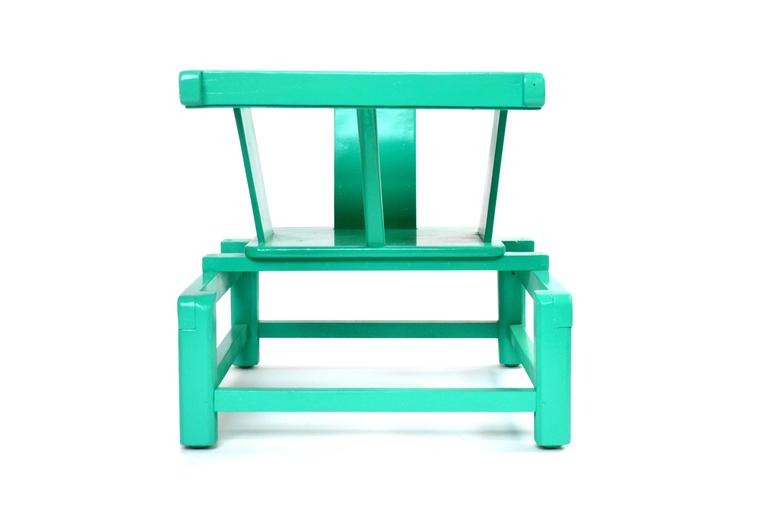 Mid-Century Modern Tot Play Chair in Teal Lacquered Wood   USA Wood, lacquer H 17.75 in, W 15 in, D 21 in (seat: H 8.5 in)