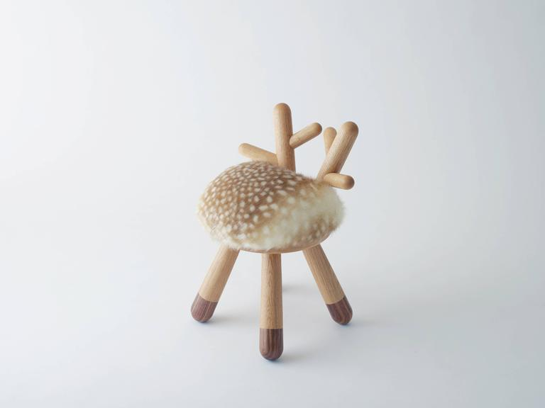 Bambi Chair by Takeshi Sawada for EO in Oak, Walnut and Faux Fur  The series also includes the Sheep Chair. See separate 1stdibs listing.   Designed by Takeshi Sawada Produced by EO Copenhagen, 2015 European oak, American walnut, faux fur (nylon) H