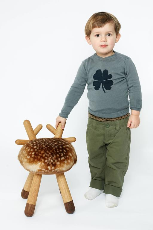Dutch Bambi Chair by Takeshi Sawada for EO in Oak, Walnut and Faux Fur For Sale