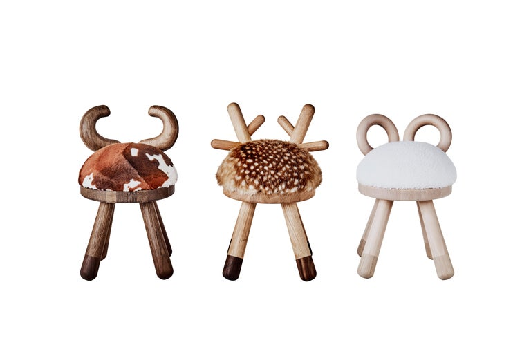Bambi Chair by Takeshi Sawada for EO in Oak, Walnut and Faux Fur In Excellent Condition For Sale In New York, NY