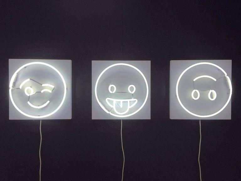 Fresh Faces for Inside Spaces Neon Wall Hanging by Lit, Alice Taranto Wink ;) Style  Contemporary, USA (Brooklyn NY), 2016 Glass neon tube on back panel H 16 in, W 16 in, D3.75 in  (neon diameter 14 in)  Wired to plug into outlet, with on/off switch