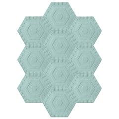 Kinder Modern Extended Hexagon Sky Swizzle Blind Rug in 100% New Zealand Wool