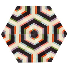 Kinder Modern Large Hexagon Maze Rug in 100% New Zealand Wool