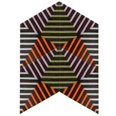 Kinder Modern Thunder Zebra Rocketship Rug in 100% New Zealand Wool