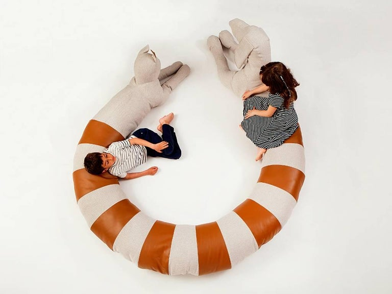 Israeli Large Cat-Dog Beanbag by Sarit Shani Hay in Polyester and Faux Leather For Sale