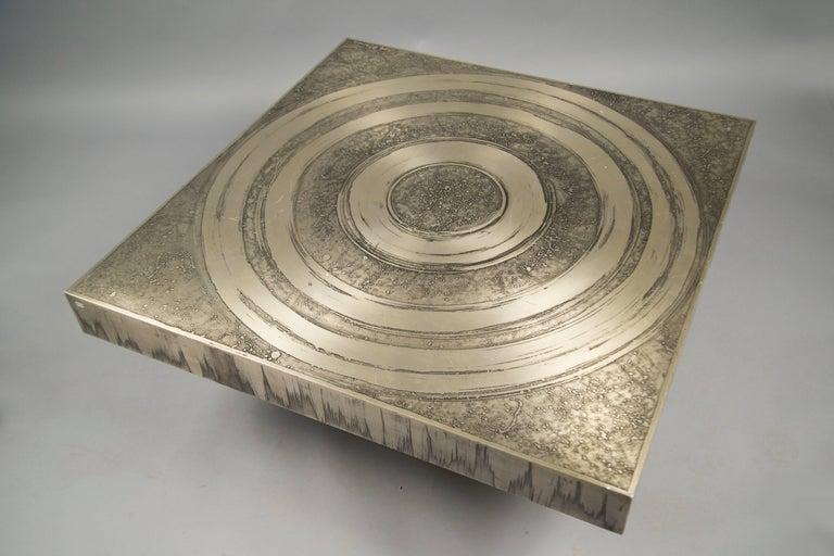 Acid Etched Aluminum Coffee Table by Marc D'Haenens, Belgium, 1970s 4