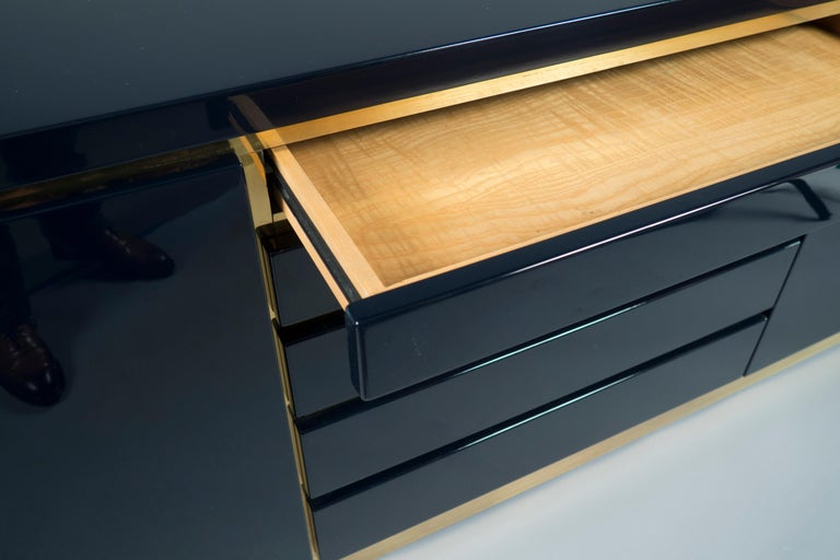 French Dark Blue Lacquered Sideboard by Jean Claude Mahey, France, 1970s For Sale