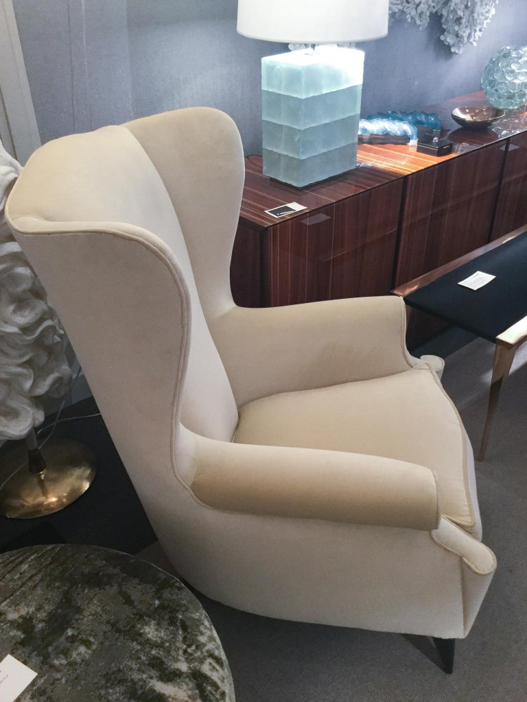 Mid-Century Modern Pair of Wingback Armchairs, Italy, 1950s For Sale