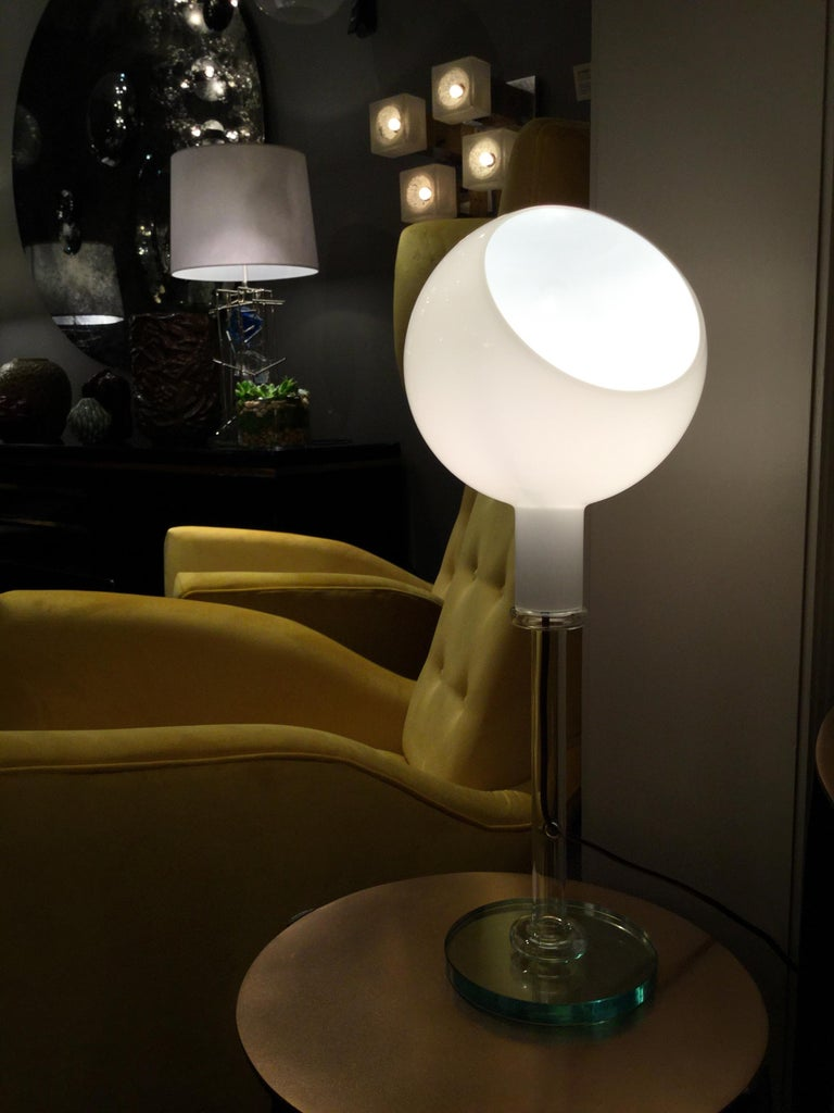 Glass Table Lamp by Fontana Arte, Italy, 1980s For Sale 3