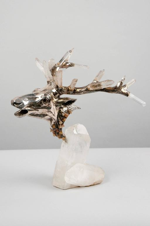 Modern Deer Head by Mellerio dits Meller 'founded 1613' France, circa 1980 For Sale