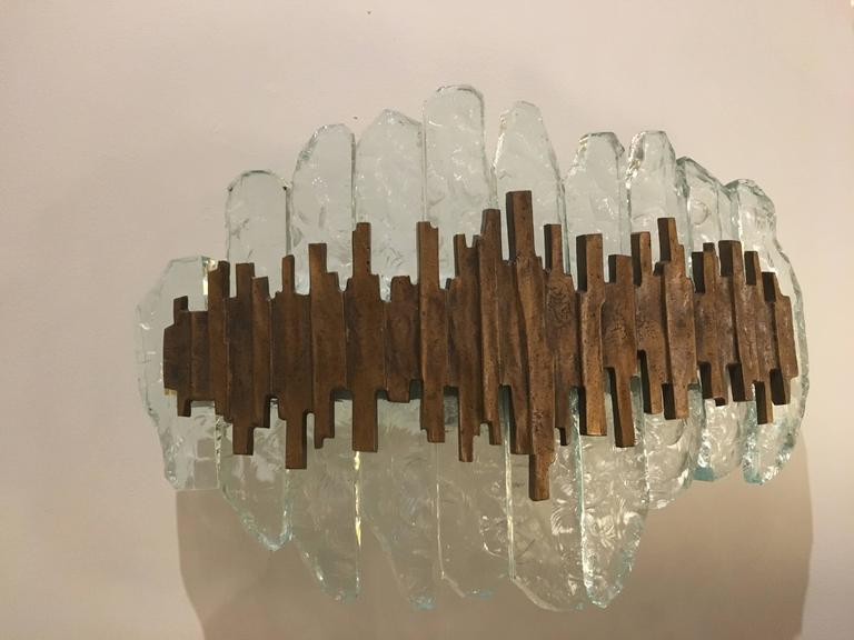 Crystal Glass and Bronze Wall Light by Max Ingrand for Fontana Arte, Italy, 1960 3