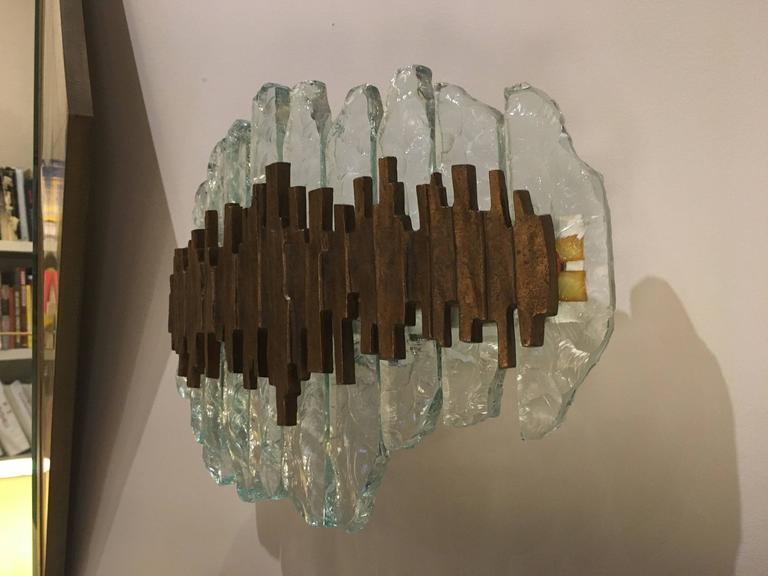 Crystal Glass and Bronze Wall Light by Max Ingrand for Fontana Arte, Italy, 1960 5