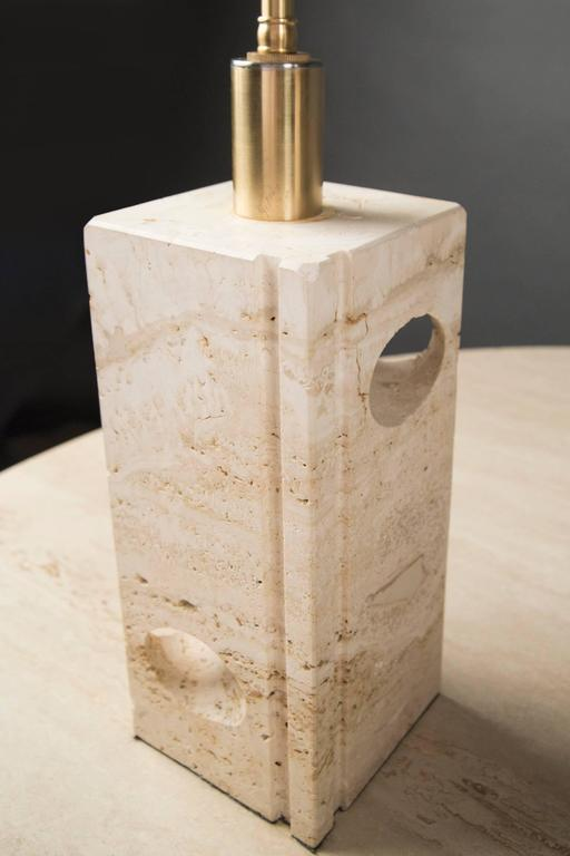 Mid-Century Modern Pair of Travertine Lamps by Fratelli Manelli, Italy, 1970's  For Sale