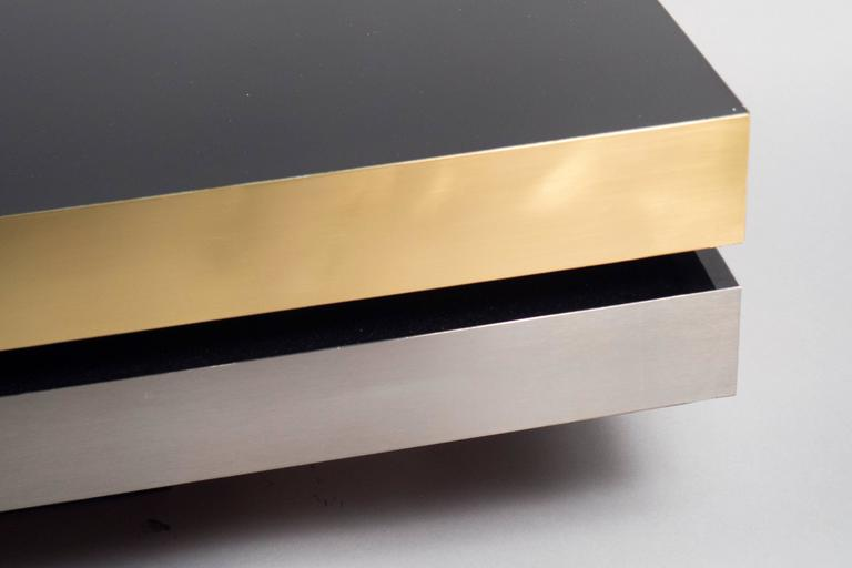 Low Formica Coffee Table With Brass And Nickel Trim