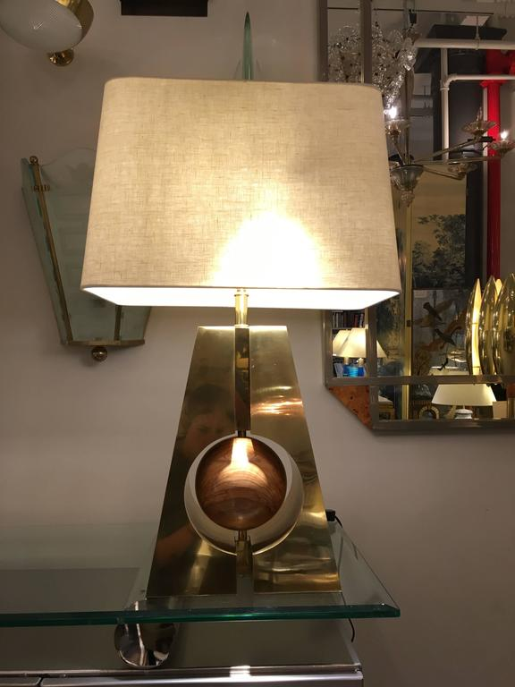 Contemporary Pair of Brass and Wood Lamps, Italy, 2017 For Sale