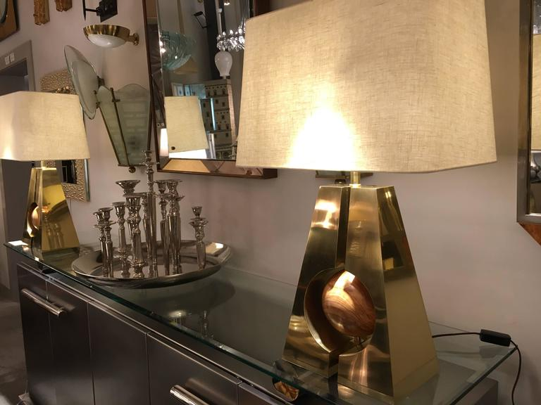 Pair of Brass and Wood Lamps, Italy, 2017 For Sale 2