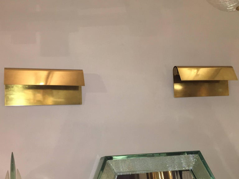 Belgian Pair of Polished Brass Sconces by Christophe Gevers, Belgium, circa 1975 For Sale