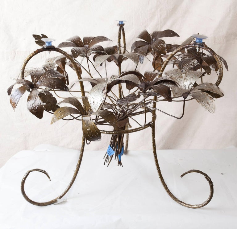 Painted Metal Flower Petal Coffee Table with Beveled Glass Top, 1960s For Sale 3