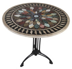 Art Deco Cast Iron Base Table with Pietra Dura Specimen Top