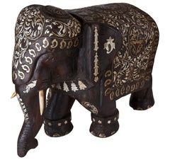 Solid Rosewood Elephant with Brass and Ivory Inlay, Early 1900s