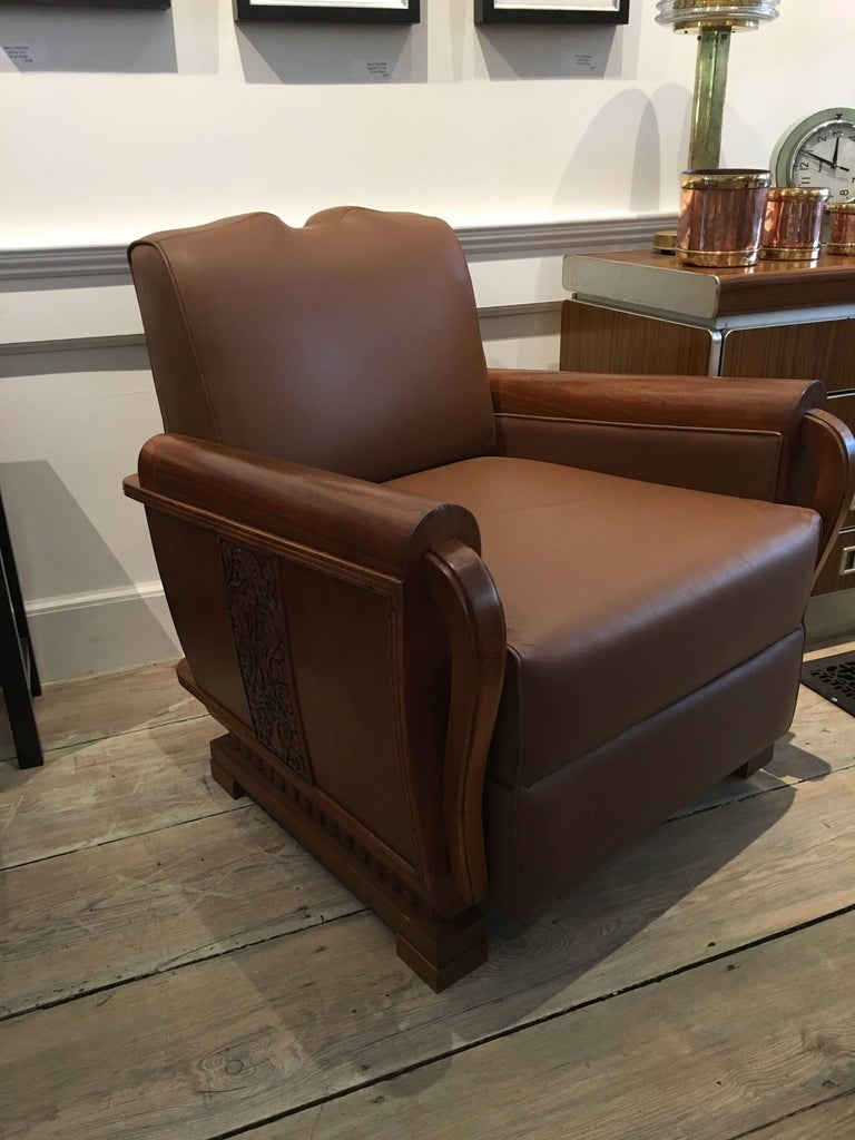 Pair of Art Deco Period Teak and Leather Club Chairs with Mustache Back 2