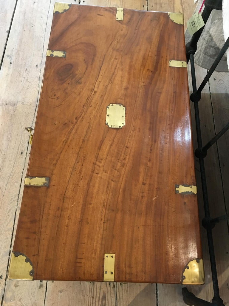 Late 19th Century British Campaign Camphor Sea Chest In Good Condition For Sale In Nantucket, MA