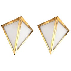 Pair of Triangular Opaque Glass Wall Sconces from a 1970s Cruise Ship Stateroom