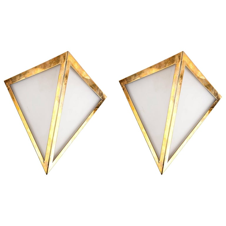 Pair of Triangular Opaque Glass Wall Sconces from a 1970s Cruise Ship Stateroom For Sale