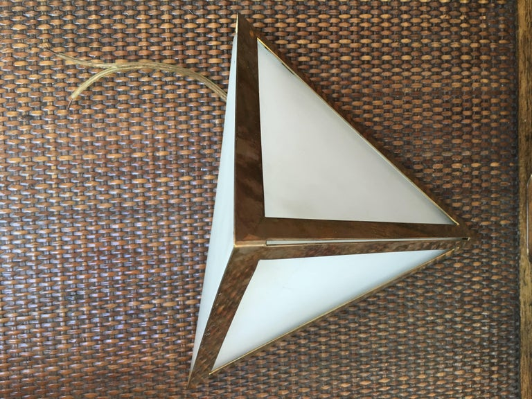 Industrial Pair of Triangular Opaque Glass Wall Sconces from a 1970s Cruise Ship Stateroom For Sale