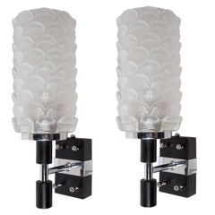 Pair of Deco Period Glass Scallop Shell Motif Sconces on Chrome and Metal Backs